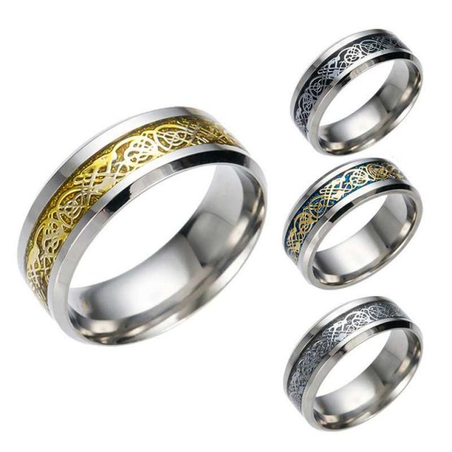 4 COLORS Vintage Dragon Ring Men's Accessories Rings Ring Size : 5|6|7|8|9|10|11|12|13