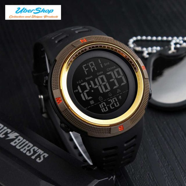 Sport Watches Chrono Countdown Men Waterproof Digital Men's Accessories Watches Color : Gold red|Red|Black brown|Blue|Brown gold|Black
