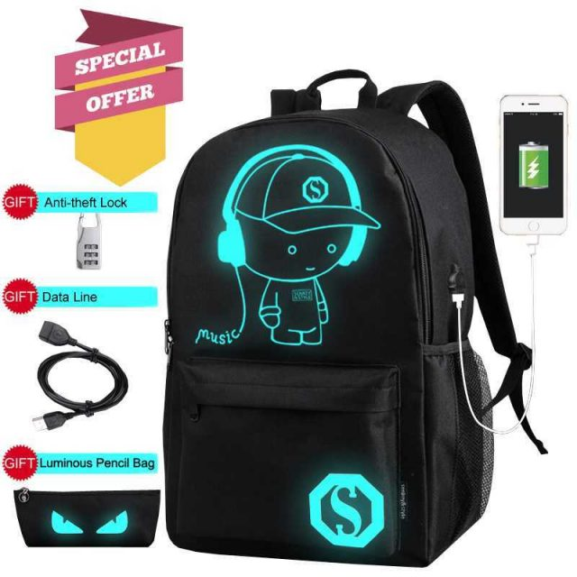 Anti Theft Backpacks USB Charge + Gift Sports & Outdoors Color : Normal Music Boy|Black Music boy S|Blue Music boy S|With Lock Pencil Bag|Black With USB|Blue With USB|Black Music Boy L